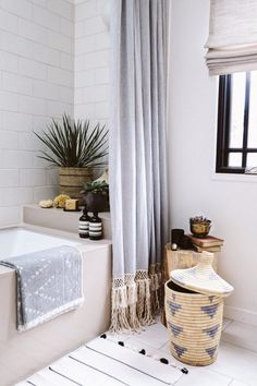 How to add an extra 12-18 inches to a standard shower curtain for those tall ceilings!