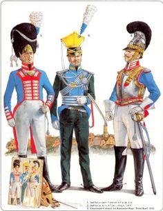 """Napoleon's German Allies. Bavaria 1_2nd line garde 1813 2_2nd Light Chevau-Leger 1813 3_Lieutnant Colonel 1st Kuirassier Regt """"Prinz Karl"""" 1815"""