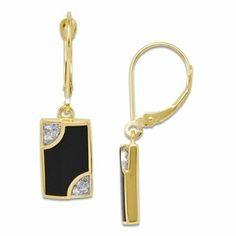 Amazon.com: 50th Anniversary Black Coral Earrings with Diamonds in 14K Yellow Gold: Maui Divers of Hawaii: Jewelry
