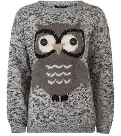 Teens Grey Knitted Button Eyes Owl Jumper