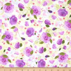 Blissful Moments Roses Purple from @fabricdotcom  Designed by Daria Jabenko for P&B Textiles, this cotton print fabric is perfect for quilting, apparel and home decor accents. Colors include shades of pink, green and orange.