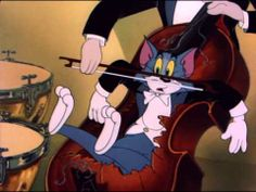 Tom n Jerry - The Hollywood Bowl. Tom And Jerry Gif, The Hollywood Bowl, Music Online, Music Humor, Classic Cartoons, Teaching Music, Classical Music, Violin, Animated Gif