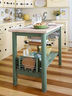 Hablar pequeñito.  Se trata de una isla perfecta para pequeña cocina y hacer un pequeño aspecto de la cocina y la sensación espaciosa.  También la isla de trabajo y los bastidores debajo son grandes!