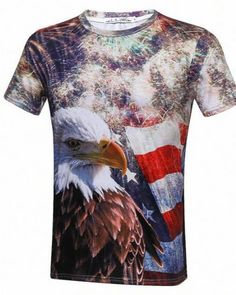 Mens Summer Independence Day 3D Printing Short Sleeves Blouse TopTee Shirt Black