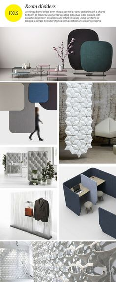 Divide your rooms to multiply your spaces. or to section off a room and create individual spaces with acoustic isolation: a perfect, simple solution which is both practical and visually pleasing Partition Screen, Divider Screen, Partition Design, Office Interior Design, Office Interiors, Modular Furniture, Furniture Design, Acoustic Wall Panels, Open Space Office