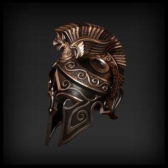 Ancient Armor, Medieval Armor, Fantasy Armor, Fantasy Weapons, Armor Concept, Concept Art, Spartan Tattoo, Greek Helmet, Character Art