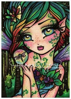 """Willow"" Mermaids, Fairies, & other Girls of Whimsy - Hannah Lynn Colored by: Lyz Ibarra Coloring Books, Coloring Pages, Adult Coloring, Fairy Wallpaper, Hannah Lynn, Creation Art, Mermaid Fairy, Polychromos, Diamond Art"