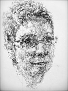 The artist uses line to create the persons face. He uses line to also show the dark side of her face and show detail.