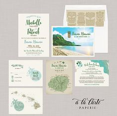 Hawaii Kauai Island Destination Illustrated wedding Invitation map of Kauai Watercolour drawing Tiki Earth tones
