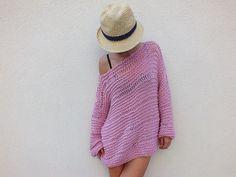 Soft Pink sweater / chunky wool sweater/ by HobiholikFashion