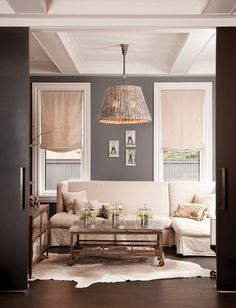 Love the wall color-Elegant gorgeous living room - grey walls - chandelier Living Room Grey, Home And Living, Living Room Decor, Grey Room, Cozy Living, Small Living, Bedroom Decor, Gray Bedroom, Master Bedroom