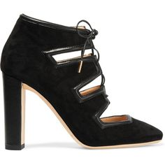 Jimmy ChooLatch Leather-trimmed Suede Pumps (19 205 UAH) ❤ liked on Polyvore featuring shoes, pumps, black, black block heel pumps, black pumps, suede shoes, jimmy choo and black suede shoes