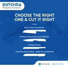 Kitchen knives are designed to perform different functions. Using the right one will make every chop, slice and dice easier. #Kutchina #DesignedForConvenience #ModernKitchen #HappyKitchen #HappyHome #KitchenLove #GetKutchified #HeartOfAHome