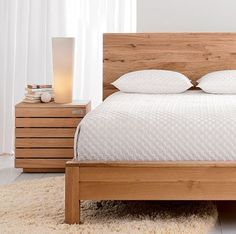Solid Oak Bed Frame From Crate and Barrel Oak Bedroom Furniture, Solid Wood Furniture, Furniture Design, Furniture Ideas, Clean Bedroom, Bedroom Sets, Bedrooms, Crate And Barrel, Oak Beds