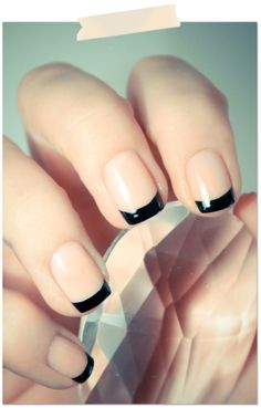 Love a reverse French mani with black tips! #nails #nailart #frenchmanicure