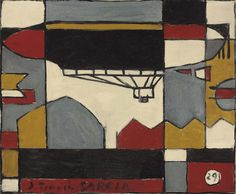 "1929 (!!) painting ""Dirigible"" by Joaquin Torres Garcia."