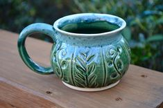 A personal favorite from my Etsy shop https://www.etsy.com/listing/568002538/green-vines-handmade-pottery-mug