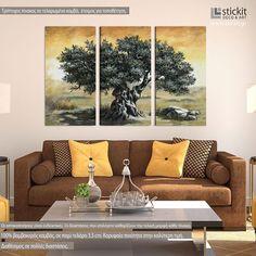 Πίνακας σε καμβά, Ελιά, τρίπτυχος Love Seat, Couch, Furniture, Home Decor, Settee, Decoration Home, Room Decor, Small Sofa, Sofas