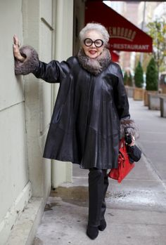 Elegant Leather Coat. Rita Ellis Hammer - ADVANCED STYLE