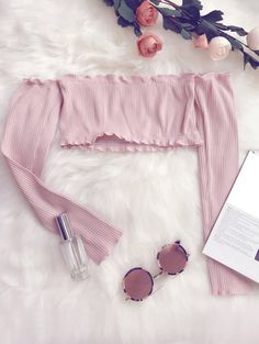 SHARE & Get it FREE | Frilled Off The Shoulder Crop Top - PinkFor Fashion Lovers only:80,000+ Items • New Arrivals Daily Join Zaful: Get YOUR $50 NOW!