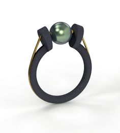 Alberto Dávila - Black cultured pearl & oxidized silver.