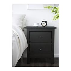 IKEA - HEMNES, 2-drawer chest, black-brown, , Made of solid wood, which is a durable and warm natural material.The drawer insert is perfect for small things.Smooth running drawers with pull-out stop.Can also be used as a nightstand.