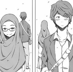 Couple Sketch Cute MuslimThis scarf is the central element from the apparel of girls having hijab. Cute Couple Cartoon, Anime Love Couple, Anime Kunst, Anime Art, Cute Muslim Couples, Muslim Girls, Muslim Women, Silent Love, Hijab Drawing