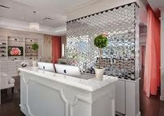 chic retail check out counters | Curved Reception Desk with Cream ...