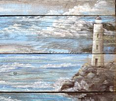 Lighthouse Sign Hand Painted on Barnwood Costal by upcyclesisters
