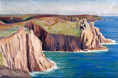 Cliffs and Sea by Wilfred Higgins   York Museums Trust Date painted: c.1925 Oil on canvas, 40.5 x 61 cm Collection: York Museums Trust