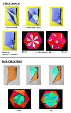 *********** OWs pattern variations on NiclkRobinson site - http://www.nickrobinson.info/clients/owrigami/show_diagram.php?diagram=6_piece_coaster2_variations