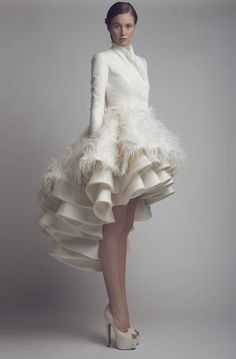 Gallery: Ashi Studio Hi-low wedding dress with feathers and long sleeves - Deer…