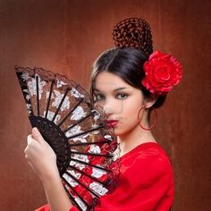 Picture of Flamenco dancer Spain woman gypsy with red rose and spanish hand fan stock photo, images and stock photography. Spanish Dancer, Spanish Woman, Spanish Style, Dancer Hairstyles, Spanish Hairstyles, Spanish Fashion, Hair Images, Hair Comb, Red Roses