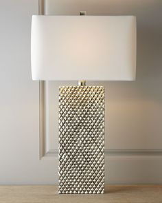 Regina-Andrew Design Platinum Stud Lamp from Horchow. Saved to b a c h l e o r e t t e . Style At Home, Bedroom Lamps, Master Bedroom, Bedside Lamp, Lamp Design, Lamp Light, Interior Decorating, Shabby, Decoration