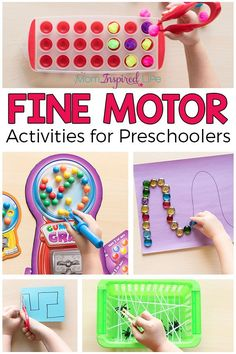 Favorite Fine Motor Activities for Preschoolers Fine motor activities for preschoolers that are fun, engaging and effective! These fine motor games and activities are sure to be a hit! Preschool Fine Motor Skills, Fine Motor Activities For Kids, Motor Skills Activities, Gross Motor Skills, Toddler Activities, Therapy Activities, Fine Motor Activity, Playgroup Activities, Kids Motor