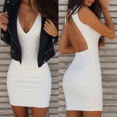 Nice Body Dresses Open Back Plungle Bodycon Dress... Check more at https://24store.tk/fashion/body-dresses-open-back-plungle-bodycon-dress/