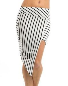 Above Knee Polyester Juniors Asymmetrical Skirts for Women Fast Fashion, New Fashion, Asymmetrical Skirt, Clubwear, Skirt Fashion, Black Stripes, Sexy, Skirts, Shopping