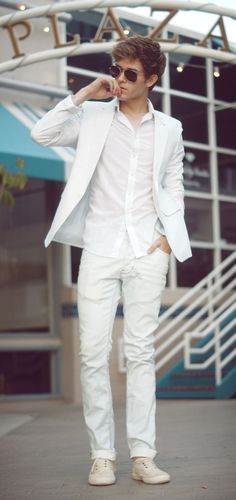 All White Party Outfit Ideas For Guys Picture white jeans blouse blazer shoes ready party summer in All White Party Outfit Ideas For Guys. Here is All White Party Outfit Ideas For Guys Picture for you. All White Party Outfit Ideas For Guys men what t. All White Mens Outfit, All White Party Outfits, White Shirt Outfits, Men's Outfits, Style Casual, Casual Chic, Casual Party, Cool Outfits For Teenage Guys, Outfits Hombre