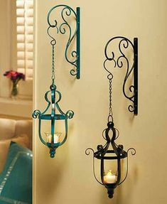 Hanging LED Candle Lanterns Decorate your home with this wrought iron Hanging LED Candle Lantern, inspired by vintage looks from the past. Decorating Your Home, Diy Home Decor, Table Centerpieces For Home, Wrought Iron Decor, Hanging Table, Hanging Lanterns, Iron Furniture, Iron Art, Led Candles