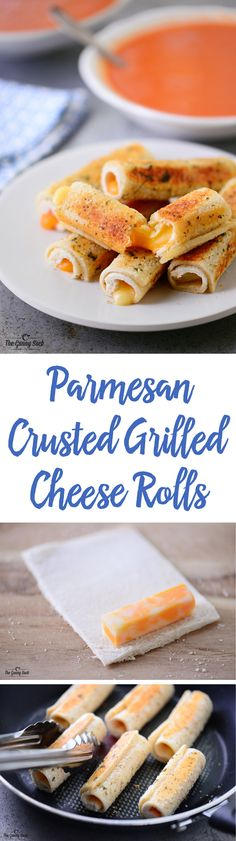 Parmesan Crusted Grilled Cheese Rolls have warm, melted cheese rolled inside toasted bread. They are perfect for dipping in tomato soup! This is a new spin on a classic favorite childhood dinner recipe that your family will love. @Tablespoon #tablespoon #ad
