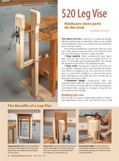 DIY Leg Vise - Workshop Solutions Projects, Tips and Tricks - Woodwork, Woodworking, Woodworking Plans, Woodworking Projects Workbench Vise, Woodworking Workbench, Woodworking Workshop, Woodworking Furniture, Beginner Woodworking Projects, Woodworking Joints, Woodworking Techniques, Fine Woodworking, Youtube Woodworking