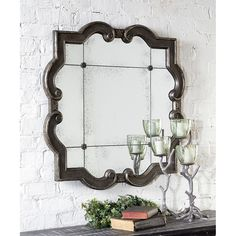Farmhouse mirror - This Mirror Frame Features A Distressed Silver Leaf Finish With Black Undertones. The Etched, Antiqued Mirror Has Four Matching Rosettes.