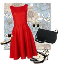rotes Kleid, schwarze Accessoires