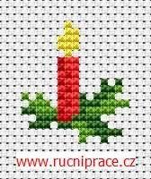 Vánoční svíčka, předloha pro křížkové vyšívání, vyšívání, křížkové vyšívání, předloha - RucniPrace.cz