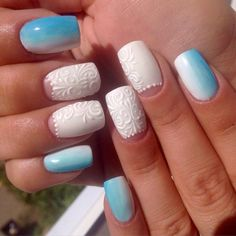 This manicure like a breath of frosty freshness in the midst of a hot July day. A real Snow Maiden ...