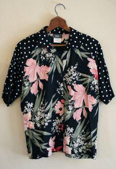 Vintage 80s Womens Hawaiian Shirt Womens 80s by TheBlackVinyl, $25.00