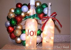 Items Needed:  Glass wine bottle with cork 1 set of mini Christmas lights 20 count, white cord 1 can of Krylon Frost Spray Paint Scrapbooking letters (or Silhouette/Cricut if you have one) Ribbon knife