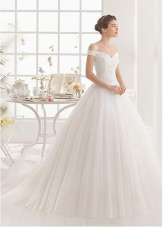 Alluring Tulle Off-the-Shoulder Neckline Ball Gown Wedding Dresses with Beaded Embroidery