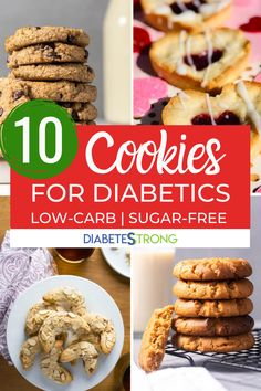 Best sugar-free healthy cookie recipes for diabetics - These keto-friendly and gluten-free cookie recipes are super easy to make and taste delicious. Some are the healthier version of classic cookies and some have exciting unique flavors you need to try! Diabetic Cookie Recipes, Diabetic Friendly Desserts, Gluten Free Cookie Recipes, Diabetic Snacks, Sugar Free Recipes, Healthy Cookies, Diabetic Muffins, Keto Recipes, Baking For Diabetics