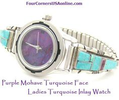 Women's Turquoise Inlay Sterling Watch Purple Mohave Face
